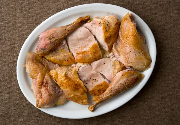 A recipe for simple roast pheasant that uses an easy brine and a hot oven to get perfectly done legs while keeping the breast moist and juicy.