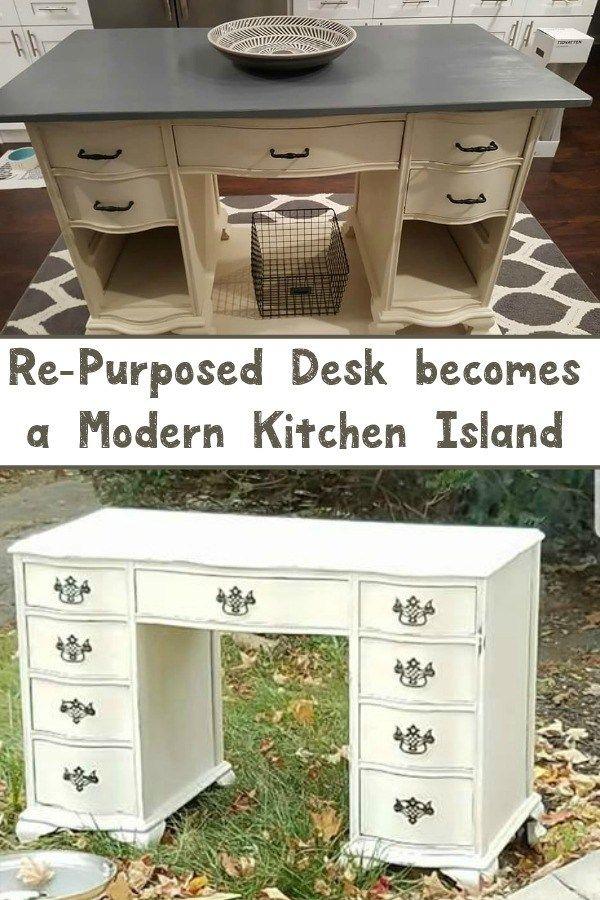 Re-Purposed Desk becomes a Modern Kitchen Island Furniture redo