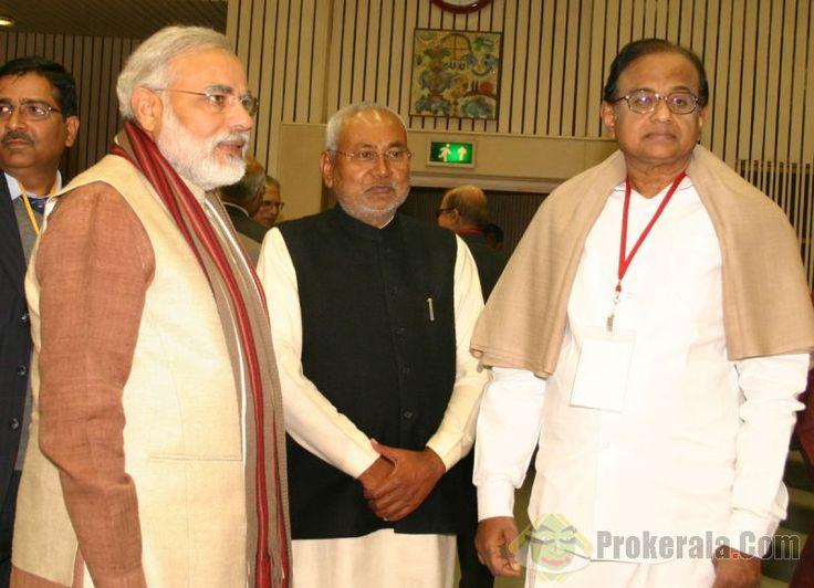 Nitish Kumar with P. Chidambaram and Prime minister NarendraModi