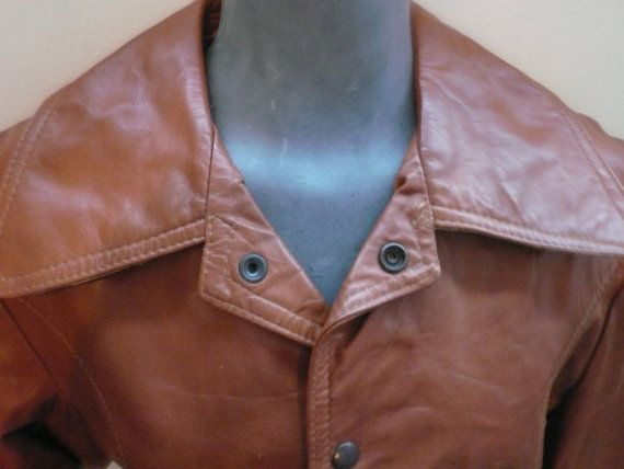Warm Brown Leather Vintage 1970s Leather Jacket by Tasteliberty, $78.00