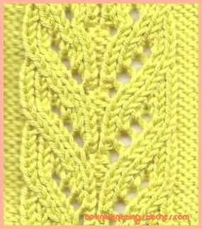 cascading leaves lace knitting stitch pattern