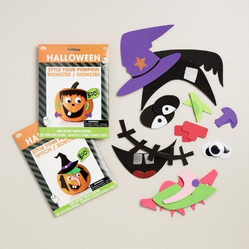 One of my favorite discoveries at WorldMarket.com: Halloween Stick-on Pumpkin Decorating Kit, Set of 2