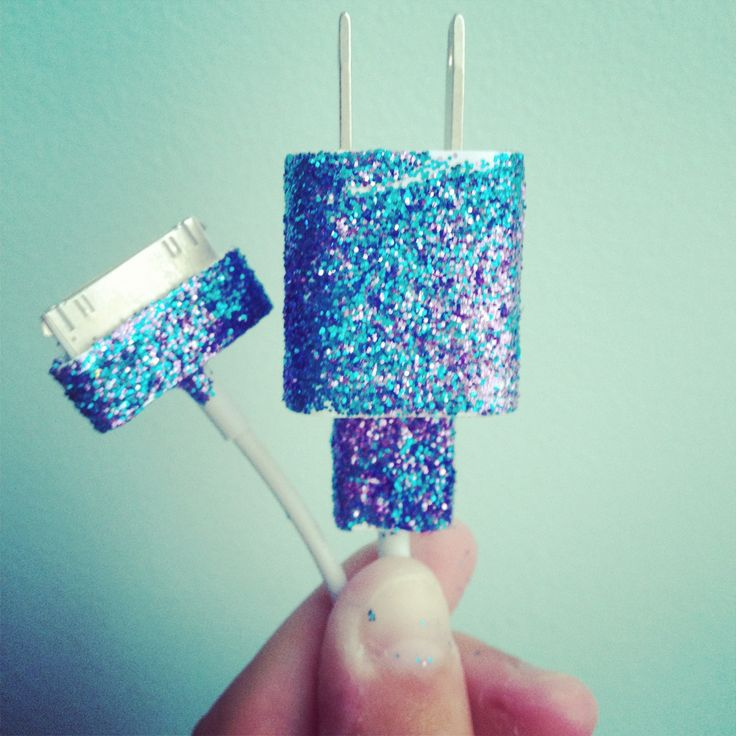 DIY glitter phone charger!!!