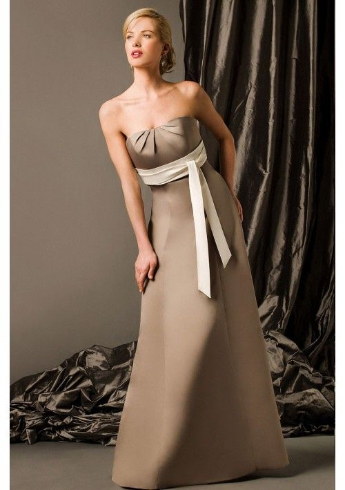 Elegant Satin Strapless A-Line Bridesmaid Gown with Empire Waist Sash Detail and Delicate Gathers at Bust