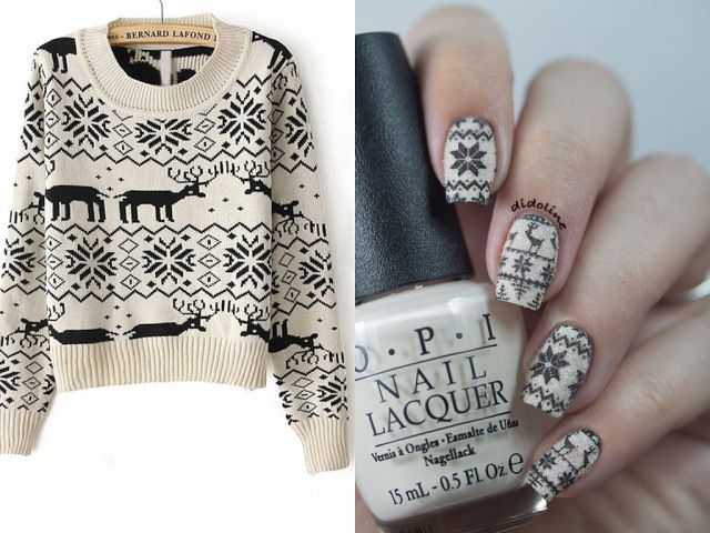 Nordic sweater inspired nails by Didoline's Nails