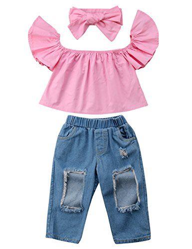 b9abc7337304a 3pcs Baby Girls Kids Off Shoulder Lotus Leaf Top Holes Denim Jeans Headband  Outfits Set