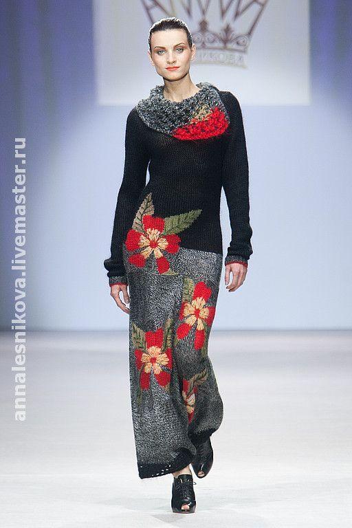 """Купить Платье """"Цветы"""" - вязаное платье, платье вязаное, трикотажное платье, авторское платье"""