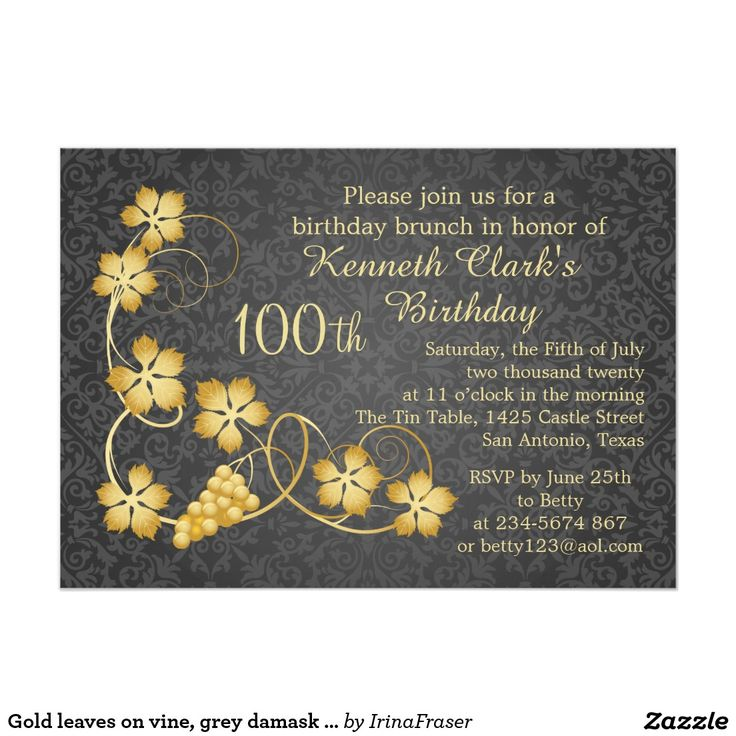 wording for party invitations uk%0A Gold leaves on vine  grey damask    th Birthday  x  Paper Invitation Card