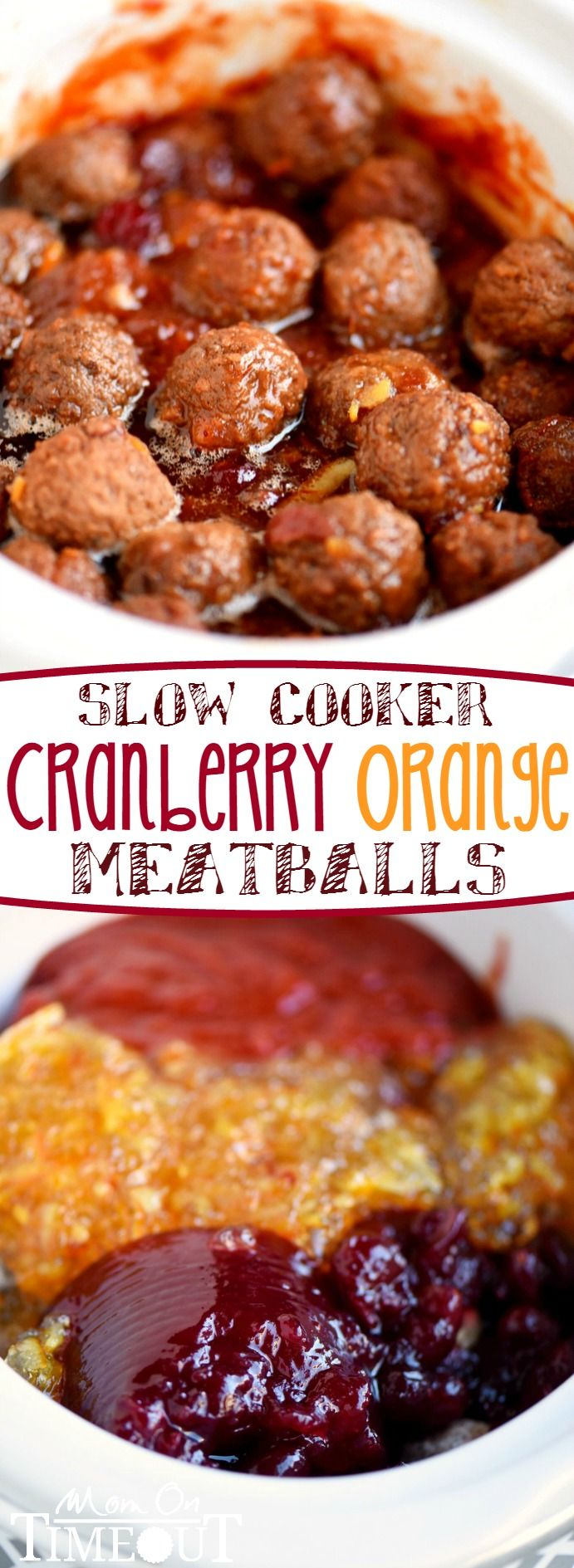 An impressive yet delightfully simple appetizer that is perfect for any celebration - Slow Cooker Cranberry Orange Meatballs! Just five ingredients and tons of delicious flavor!: