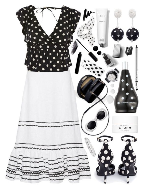 """Polka Dot: Black&White"" by the-amj ❤ liked on Polyvore featuring Lisa Marie Fernandez, Stella Luna, Topshop, Oscar de la Renta, Dr. Barbara Sturm, Rodin, Namrata Joshipura, Comme des Garçons, Trish McEvoy and Nails Inc."