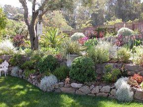 aménager son jardin en pente avec des murets de soutènement et une végétation luxuriante