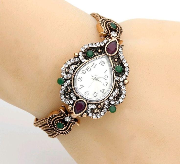 Fashion Turkish Women Bracelets Watches Resin Crystal Flower Bracelet Quartz  #FabCoutureus