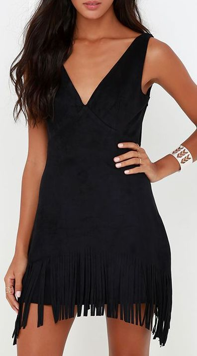 Capacious Canyon Black Suede Fringe Dress