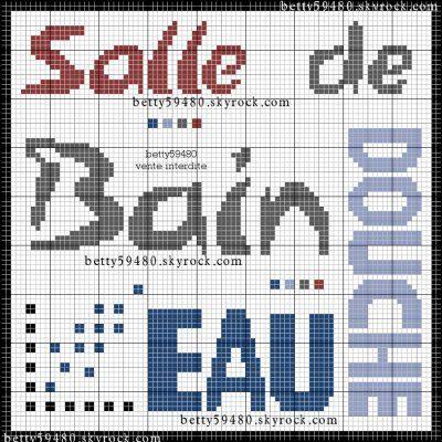 Salle de bains-bathroom - mots - point de croix-cross stitch - Blog : http://broderiemimie44.canalblog.com/