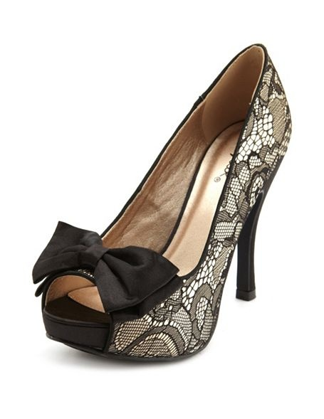 Satin Bow-Front Lace Pump: Charlotte Russe