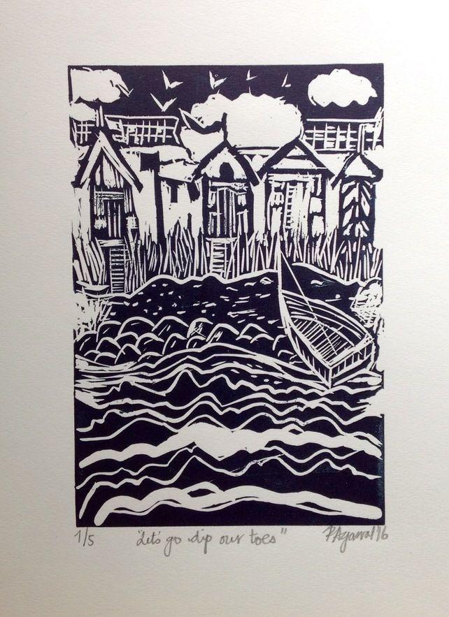 Let's go dip our toes-Beach Huts-Beach Scene- Original handmade Linocut £30.00