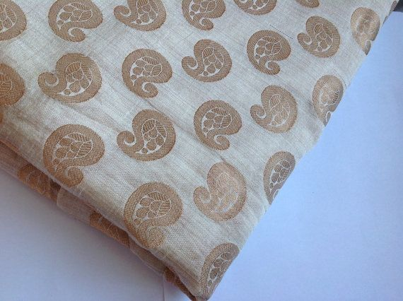 Beige Indian Brocade Fabric Brocade Fabric by Straightfromheart
