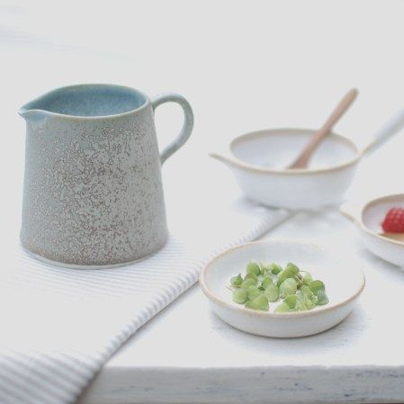 Outside dining with thrown ceramics. Artist Helen Button