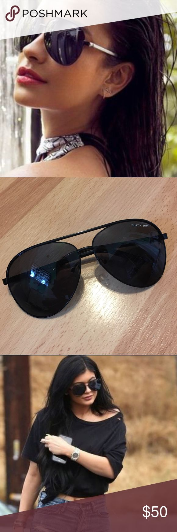 Quay x Shay Vivienne Sunnies Black (Aviator) Quay x Shay Limited Edition Vivienne Sunnies in Black.  These oversized aviators are very popular among celebs such as Kylie Jenner, Jennifer Lopez, and Vanessa Hudgens.  Excellent condition with no scratches! Quay Australia Accessories Sunglasses