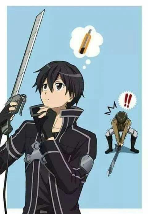 Bwahaha Eren  N'arriva pas à porter l'épée de kirito par contre kirito soulève sans problème celle d'eren