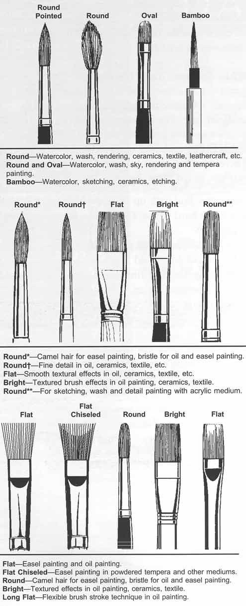 Brushes & their uses