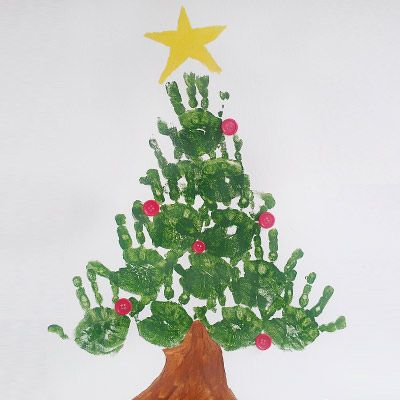 Great Christmas Tree made with hand prints. The kids will have lots of finger paint fun making this one. Keep your holiday memories on a T-shirt or poster. Family Fun!