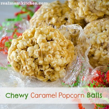Chewy Caramel Popcorn Balls  www.realmomkitchen.com  I love this blog! One of my very favorite places for food ideas. Looking forward to making these soon
