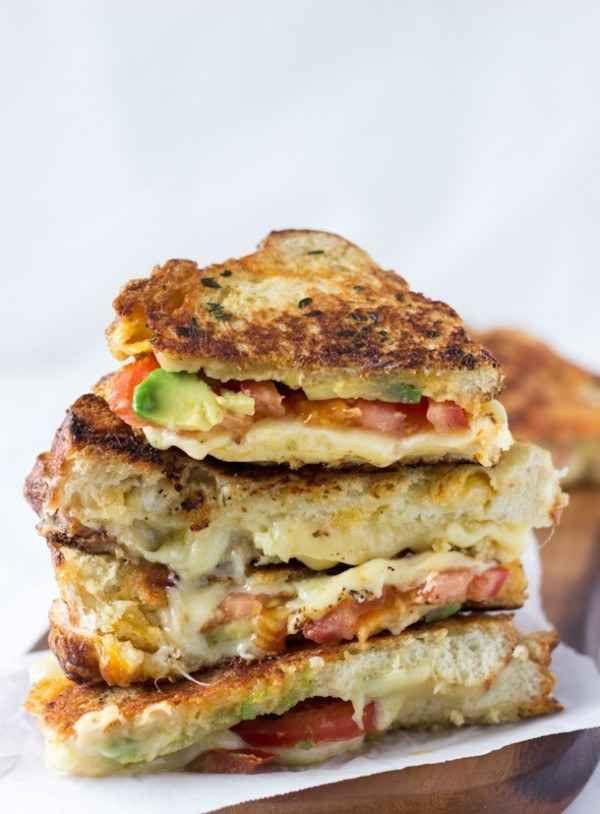 Avocado Tomato Grilled Cheese Sandwich