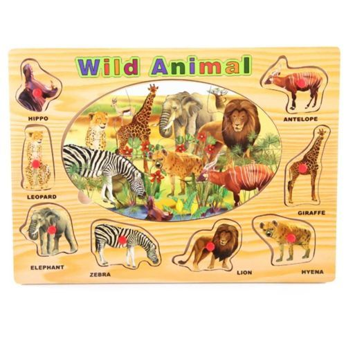 Wooden Peg Puzzle Wood Jigsaw Wild Animal Jungle Safari