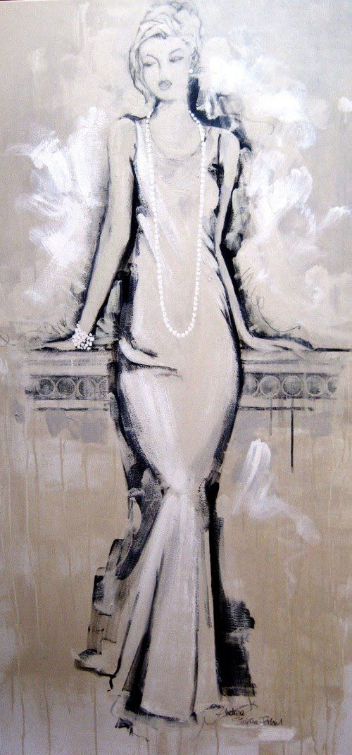 Fashion Art Paintings by Andrea Stajan-Ferkul. I like this. I want to try using mosty white paint again. I have not yet succeeded.