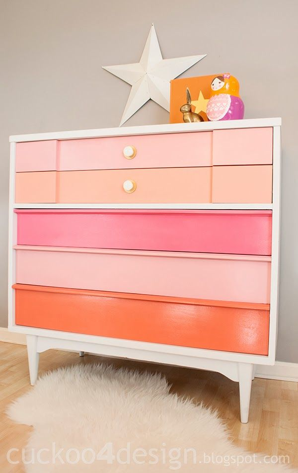 Cuckoo4Design - pastel pink & coral drawers, Homeright Finish Max sprayer, used water based paint