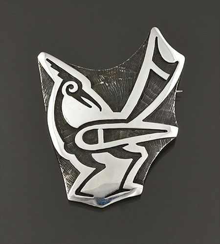 Silver Overlay Pin by Anderson Koinva (Hopi)