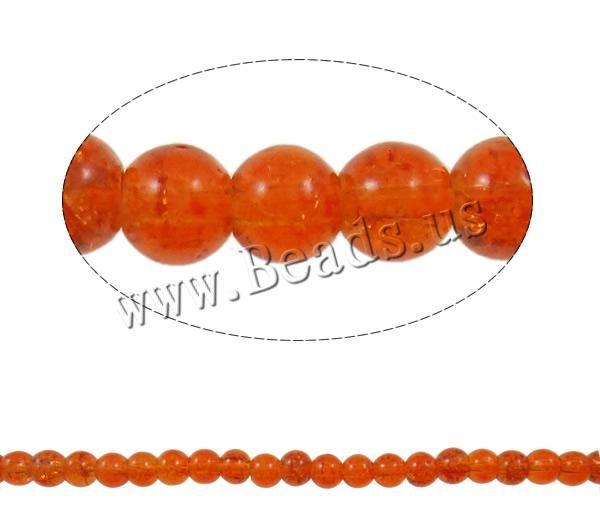 Треск стекло бусины, Роскошь, Круг, Красновато-русый оранжевый, 6 мм, Разрез : приблизительно 1 мм, Длина : около 31 дюйма, 10 Strands / мешок