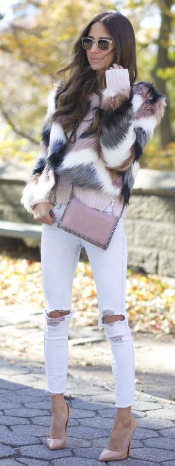 White Multi Faux Fur Jacket