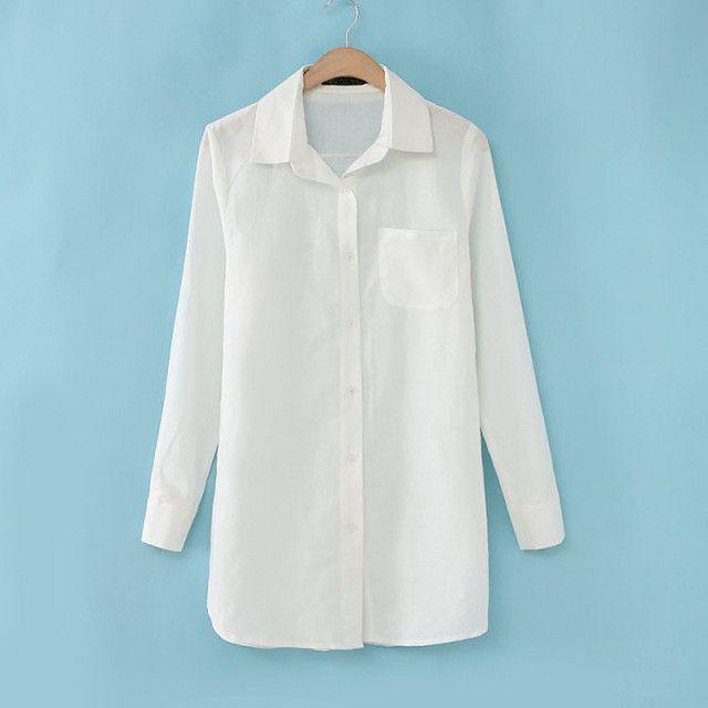 Fashion women's loose plus size fluid women's shirt linen medium-long long-sleeve shirt