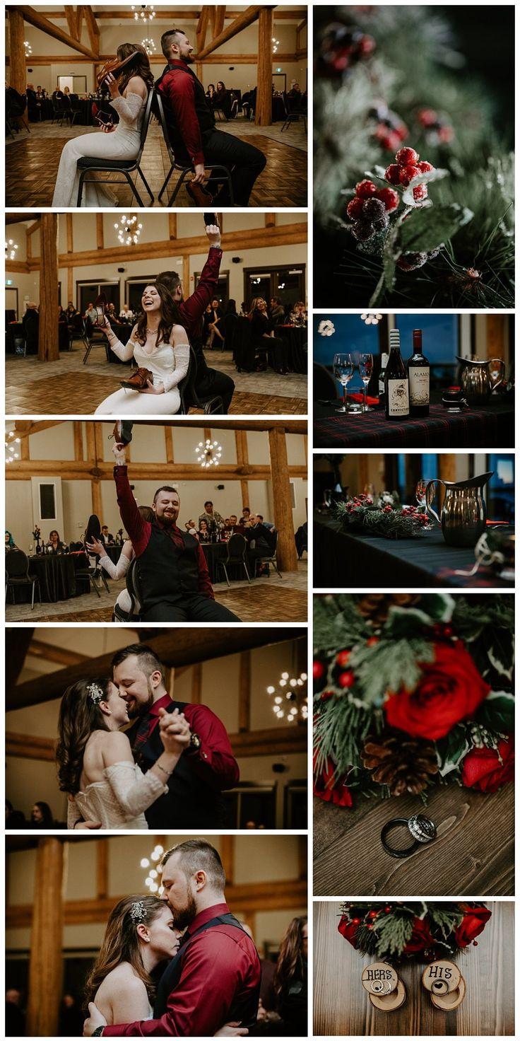 Rustic winter wedding. Red wedding reception. Winter wedding reception.