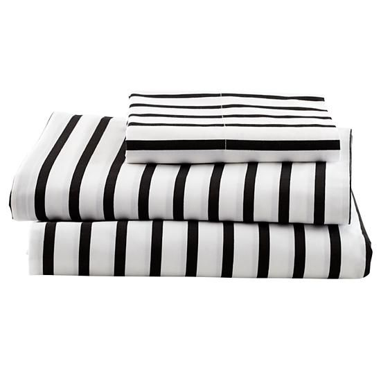 Black & white stripes are so classic that they will never go out of style. Best of all, they are available in full and queen sizes!: