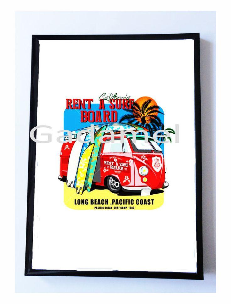 Stampa con cornice cm. 21 x 29,7   TAVOLE DA SURF