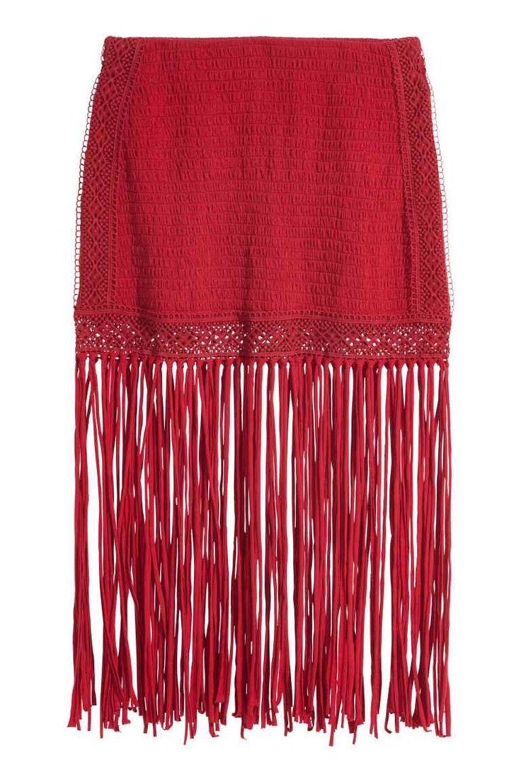 Tricot rok met franjes | H&M