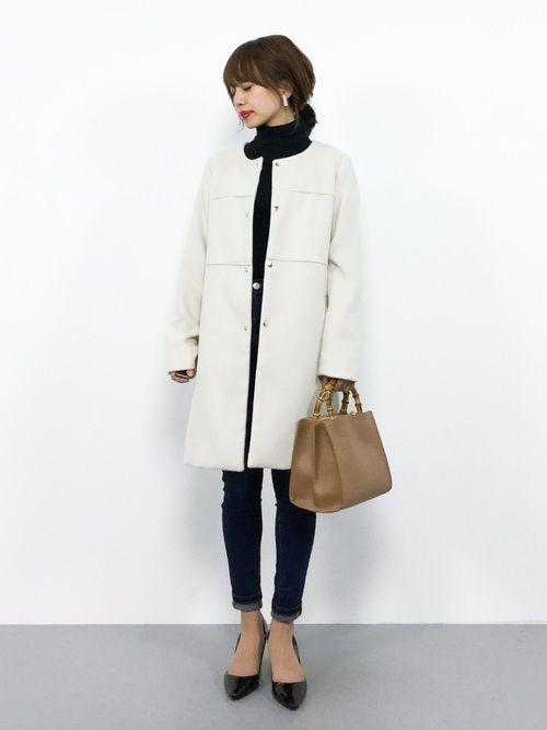 ROPE' PICNICのその他アウター「ノーカラーコート」を使ったeriko(ZOZOTOWN)のコーディネートです。WEARはモデル・俳優・ショップスタッフなどの着こなしをチェックできるファッションコーディネートサイトです。