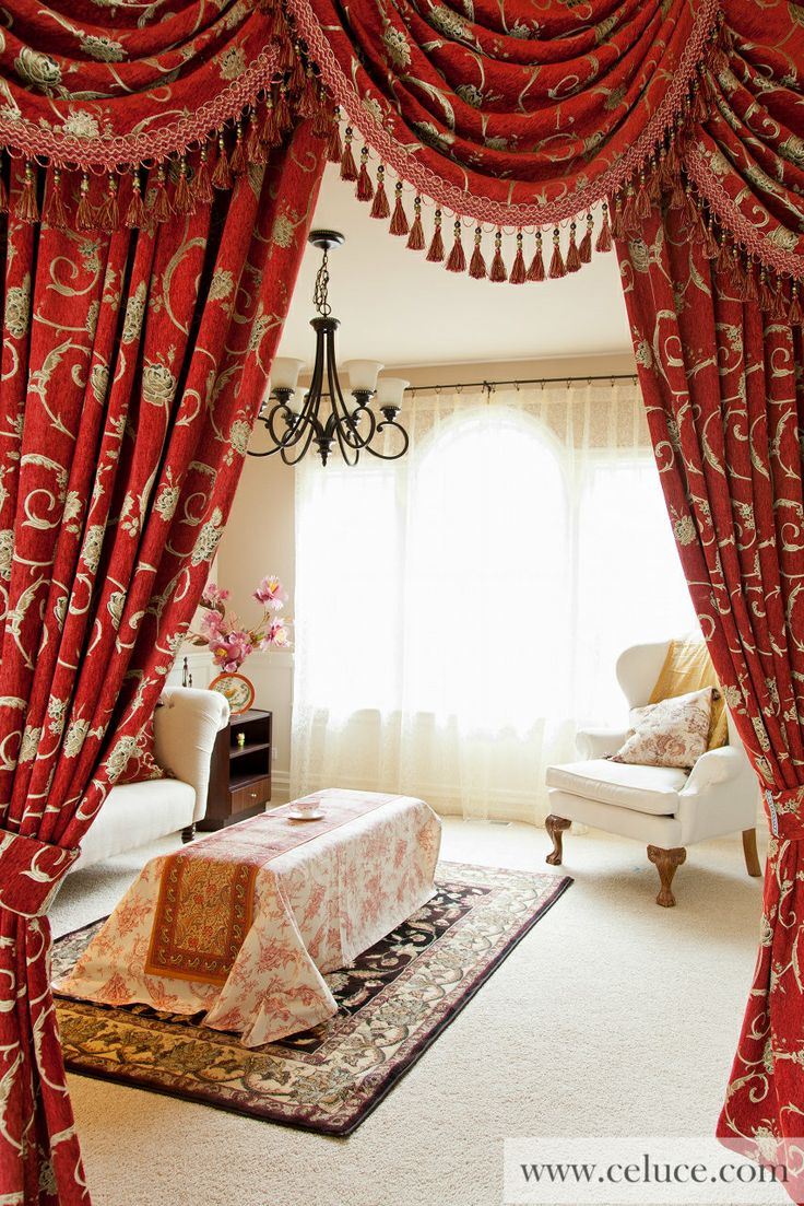 Louis XVI Royal Red   Classic Overlapping Style Chenille Embroidery Swag Valance  Curtain Set Http://www.celuce.com/p/52/louis Xvi Royal Red Swag Vu2026