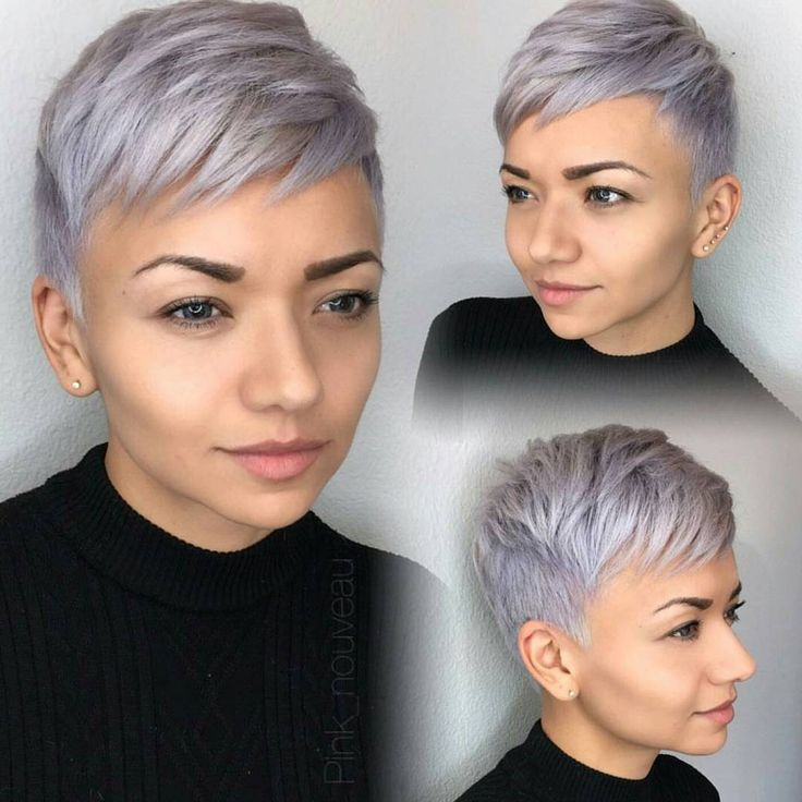 "4,636 Likes, 33 Comments - Short Hairstyles   Pixie Cut (@nothingbutpixies) on Instagram: ""Audrey Hepburn with silver/lavender hair We love it @pink_nouveau """