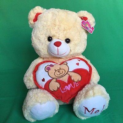"""#TeddyBears #Teddy #Bears NEW Pan Pan Teddy Bear 15"""" Plush Toy Animal Brown Heart Love Me Valentines 1J73 #TeddyBears #Teddy #Bears"""