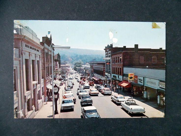 1960s Bristol Connecticut Main Street & Cars Pepsi Cola Sign Postcard