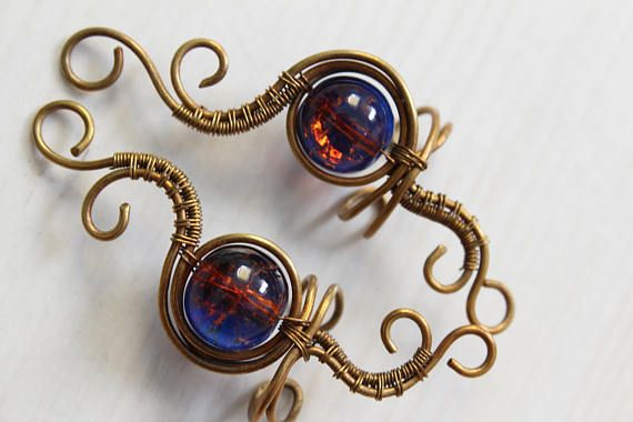Handmade bronze blue and orange art nouveau ear cuffs brass wire earrings antique vintage look
