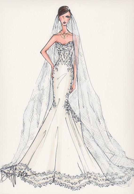 17 best images about vintage fashion sketches on pinterest Wedding dress illustration