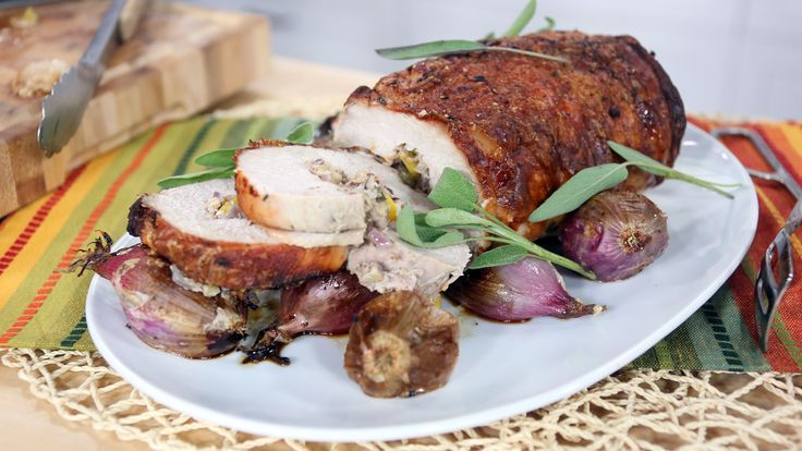 Pork loin filled with butternut squash, hazelnuts, sage and shallots
