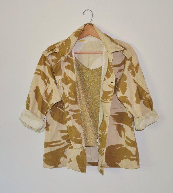Vintage Military Camo Shirt Coat Jacket Army by founditinatlanta, $35.00