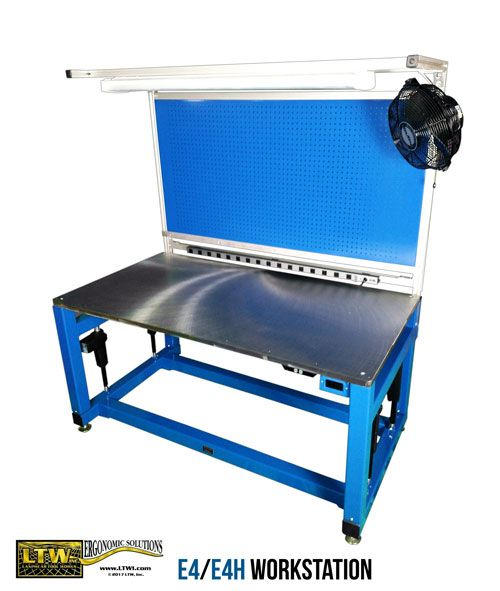 The E4 and E4H Bases raise the heavier machines and materials that our E2 Machine Bases can't. It's a step between the E2 and the large E6H Industrial Base, customized for your specific weight load capacity. Combine the strength of an E4/E4H Base with the function of a workstation to make an E4/E4H Workstation!  Add an overhead frame, tabletop, and other accessories to make this industrial base into a height adjustable workstation.