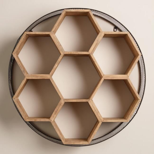Round Metal and Wood Honeycomb Wall Storage - v1